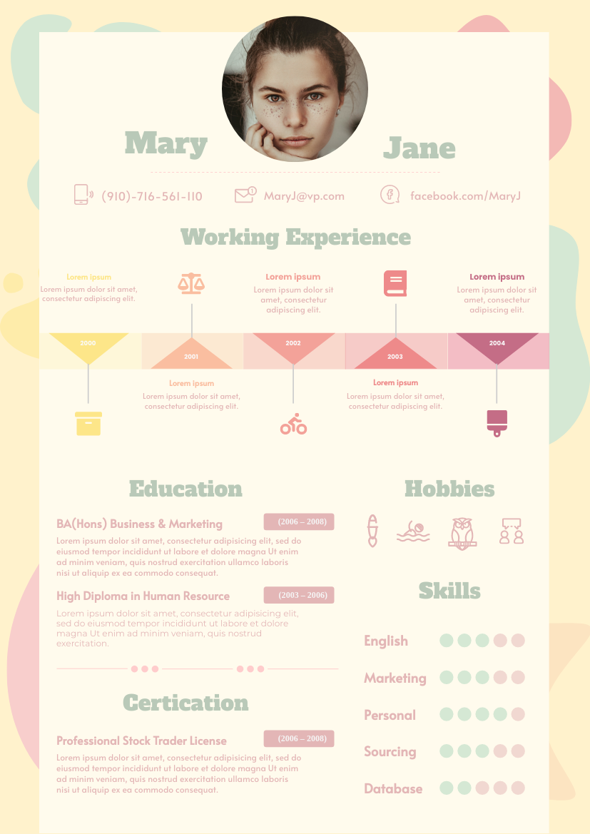 Resume template: Blob  Resume 2 (Created by InfoART's Resume maker)