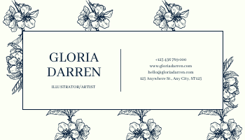 Business Card template: Blue Floral Silhouette Elegant Business Card (Created by InfoART's Business Card maker)