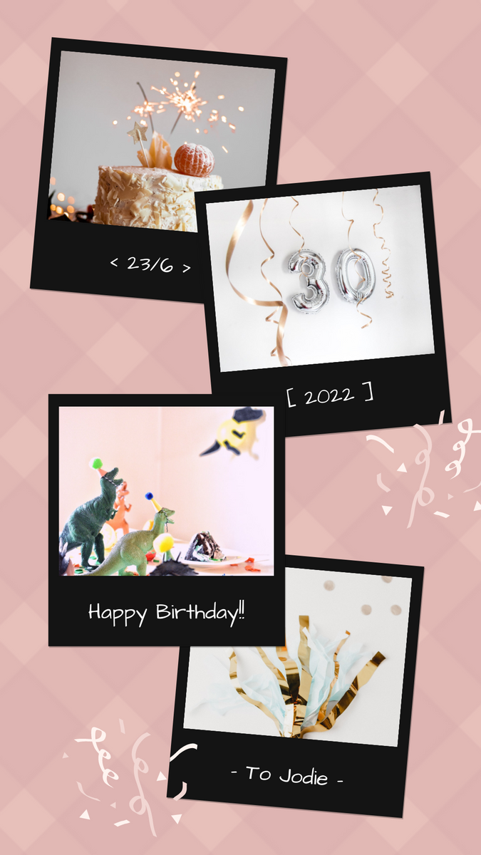 Instagram Story template: Pink And Black Polaroid Photo Frame Birthday Instagram Story (Created by InfoART's Instagram Story maker)