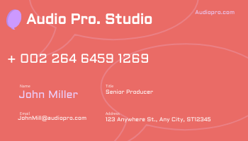Business Card template: Red Audio Pro Business Cards (Created by InfoART's Business Card maker)