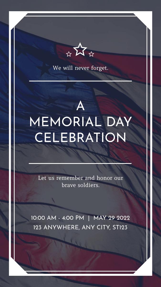 Instagram Story template: Dark Blue Flag Photo Memorial Day Instagram Story (Created by InfoART's Instagram Story maker)