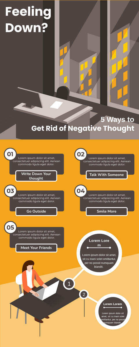 Infographic template: 5 Ways To Get Rid Of Negative Thought (Created by InfoART's Infographic maker)
