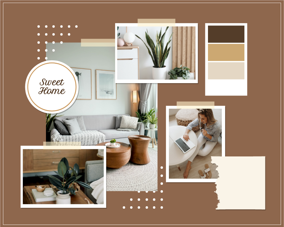 Mood Board template: Sweet Home Decoration Mood Board (Created by Collage's Mood Board maker)