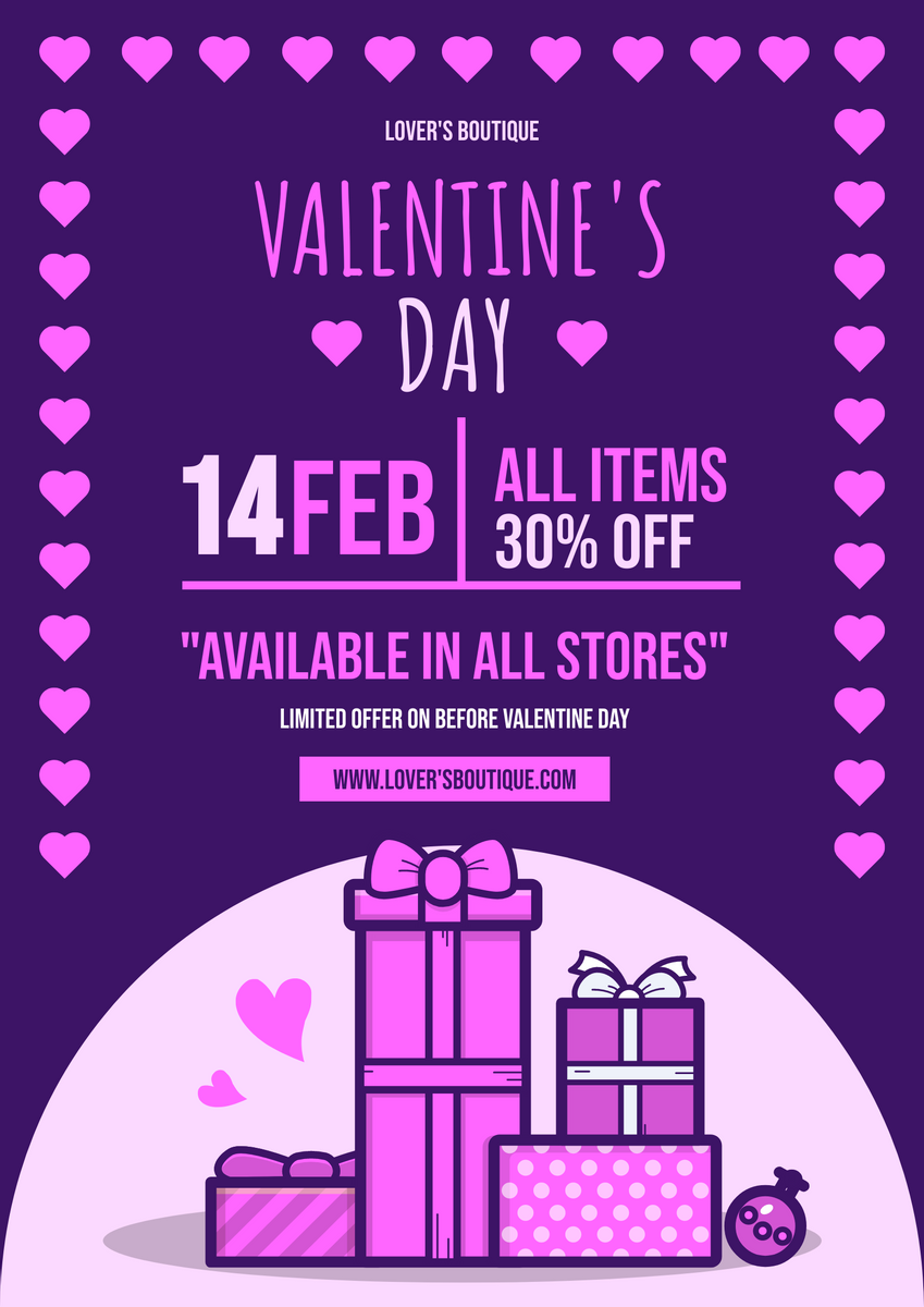 Poster template: Valentine Day Sales Poster (Created by InfoART's Poster maker)