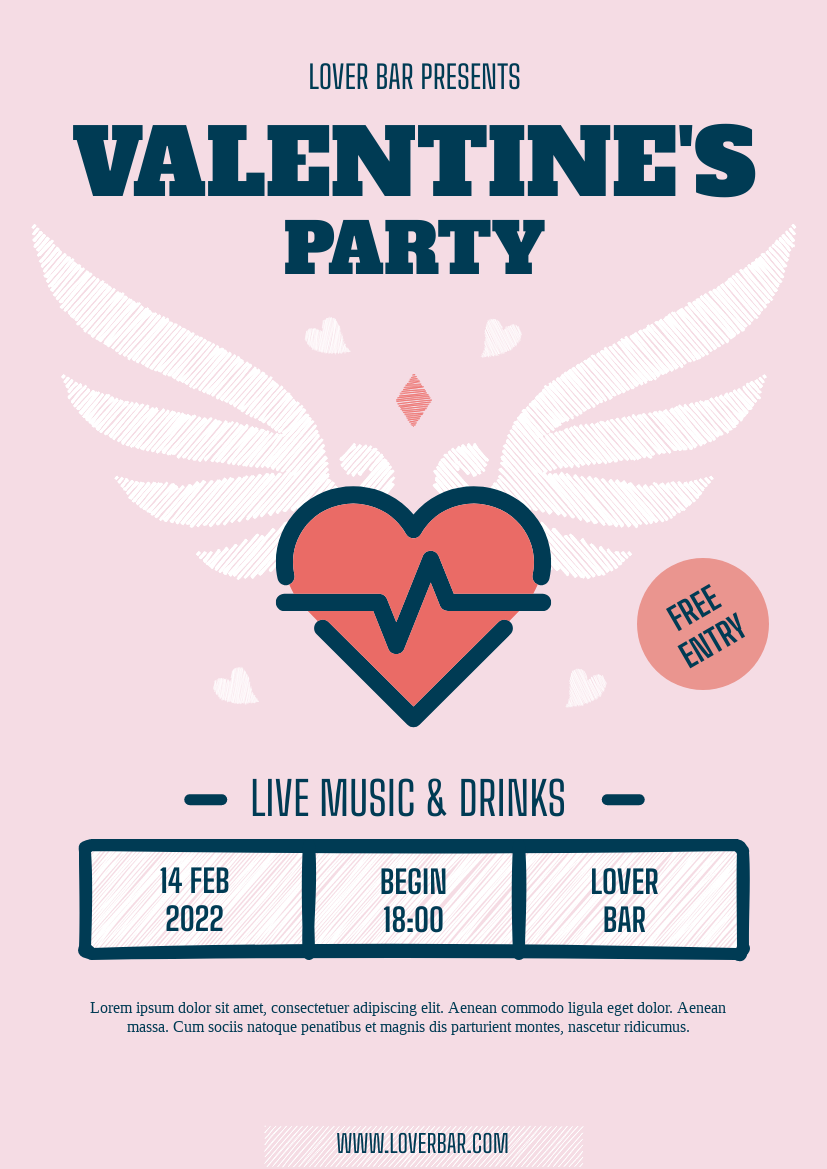 Flyer template: Lover's Bar Valentine Party Flyer (Created by InfoART's Flyer maker)