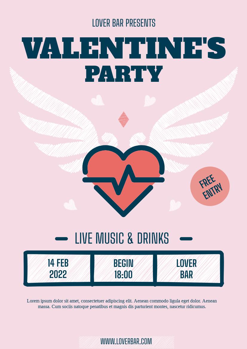 Flyer template: Valentine Party Flyer (Created by InfoART's Flyer maker)