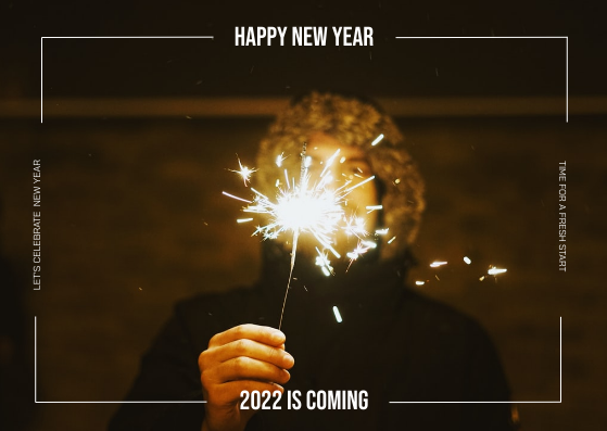 Postcard template: Brown Fireworks Photo Happy New Year Postcard (Created by InfoART's Postcard maker)