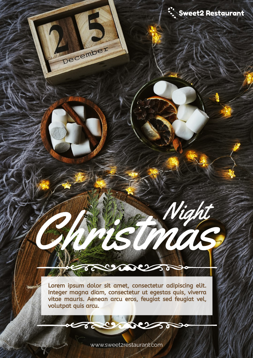 Flyer template: Restaurant Christmas Night Flyer (Created by InfoART's Flyer maker)