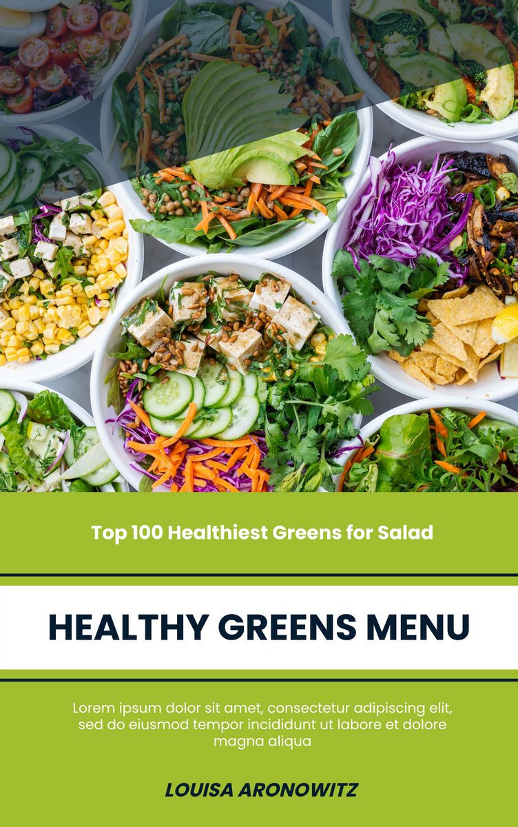 Book Cover template: Healthy Greens Menu Book Cover (Created by InfoART's Book Cover maker)