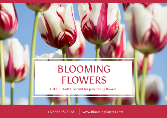 Postcard template: Red Floral Photo Flower Shop Postcard (Created by InfoART's Postcard maker)