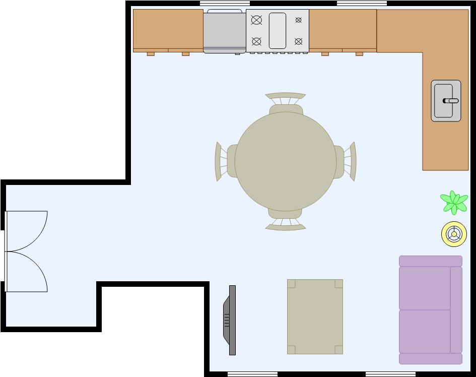 Dining Room Floor Plan template: Open Kitchen Dining Room (Created by Diagrams's Dining Room Floor Plan maker)