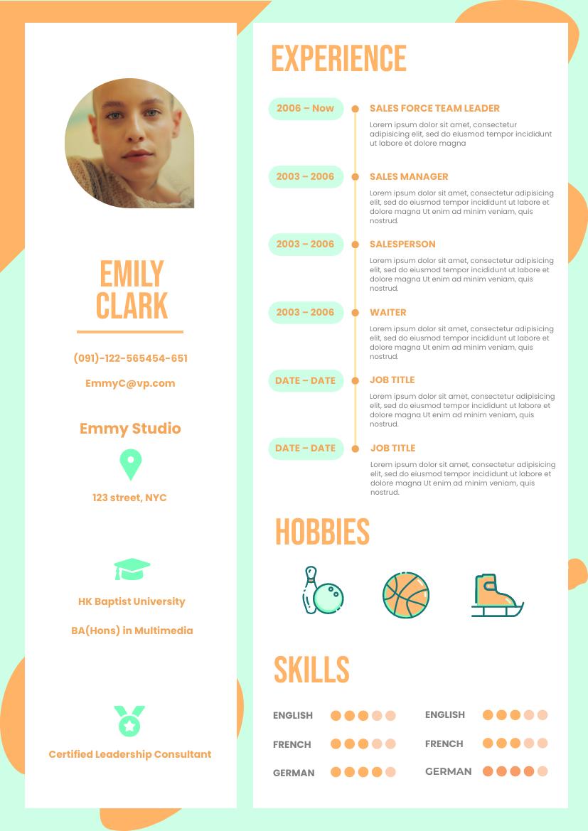 Resume template: Orange Mint Resume (Created by InfoART's Resume maker)