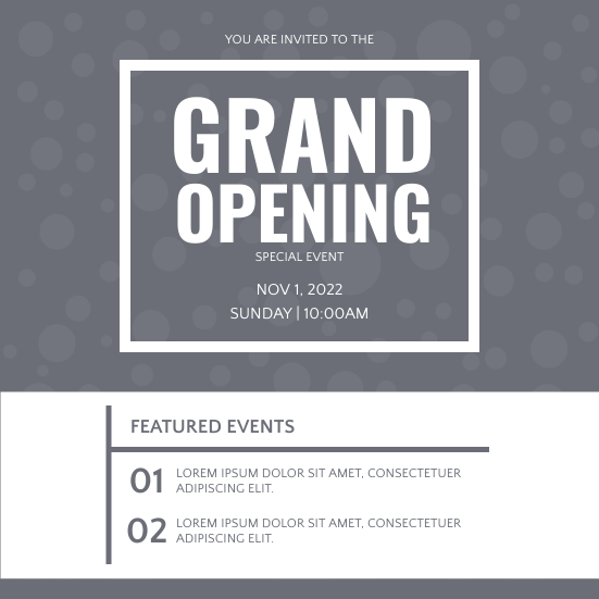 Invitation template: Grand Opening Invitation (Created by InfoART's Invitation marker)
