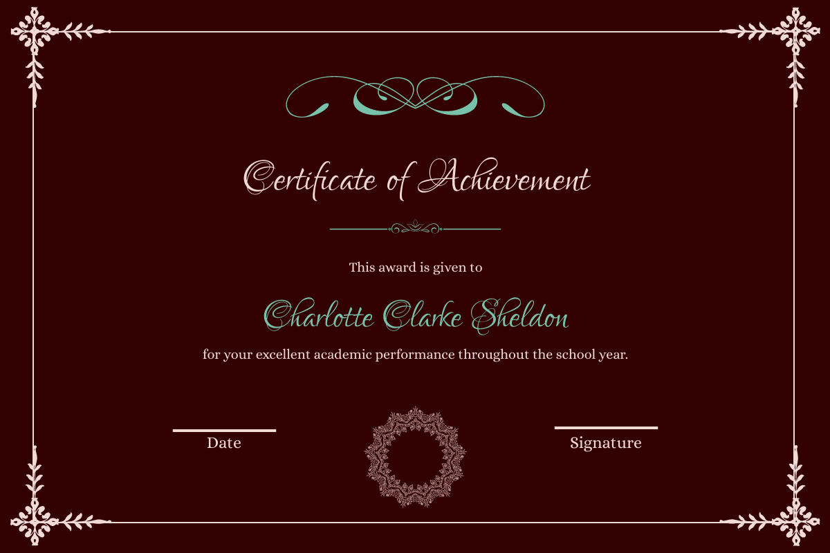 Vintage Achievement Certificate
