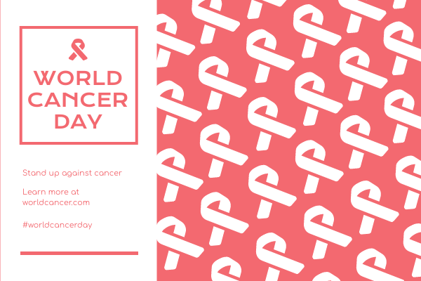 Greeting Card template: Pink White Ribbon Patterns World Cancer Day Greeting Card (Created by InfoART's Greeting Card maker)