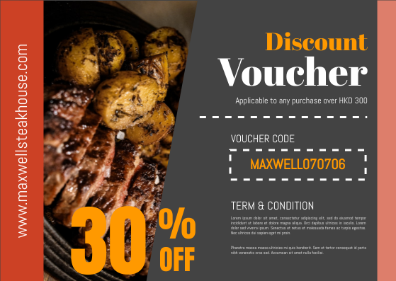 Gift Card template: Steakhouse Booking Gift Card (Created by InfoART's Gift Card maker)