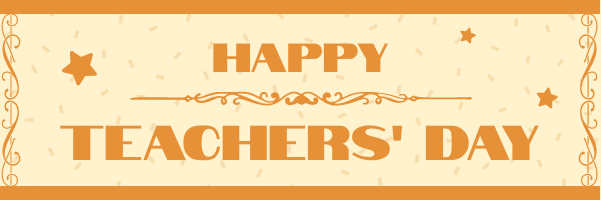 Email Header template: Simple Happy Teachers' Day Email Header In Orange Colour Tone (Created by InfoART's Email Header maker)