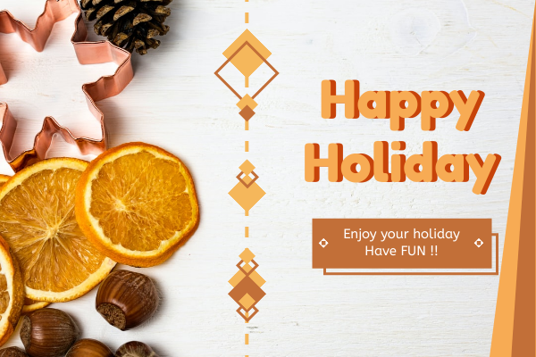 Greeting Card template: Orange Happy Holiday Greeting Card (Created by InfoART's Greeting Card maker)