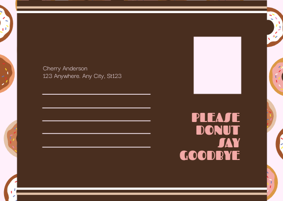 Postcard template: Cute Pink Donuts Cartoon Farewell Postcard (Created by InfoART's Postcard maker)