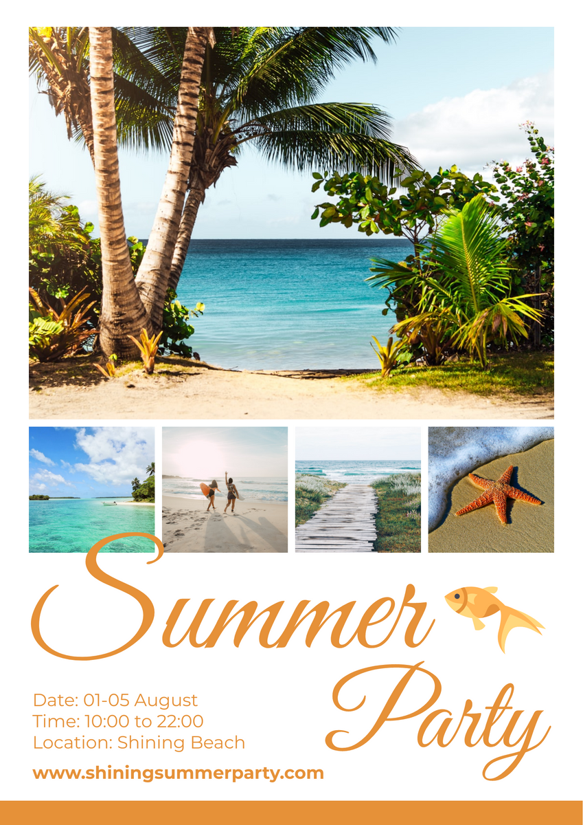 Poster template: Summer Beach Party Poster (Created by Collage's Poster maker)