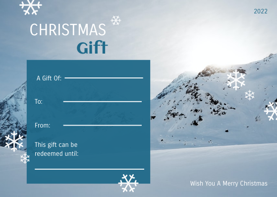 Gift Card template: Blue And Snow Photo Christmas Gift Card (Created by InfoART's Gift Card maker)