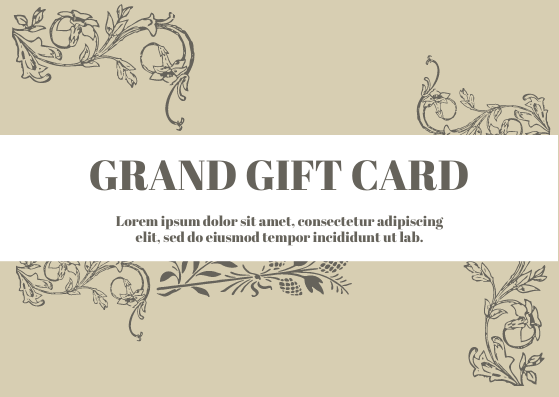 Gift Card template: Grand Gift Card (Created by InfoART's Gift Card marker)