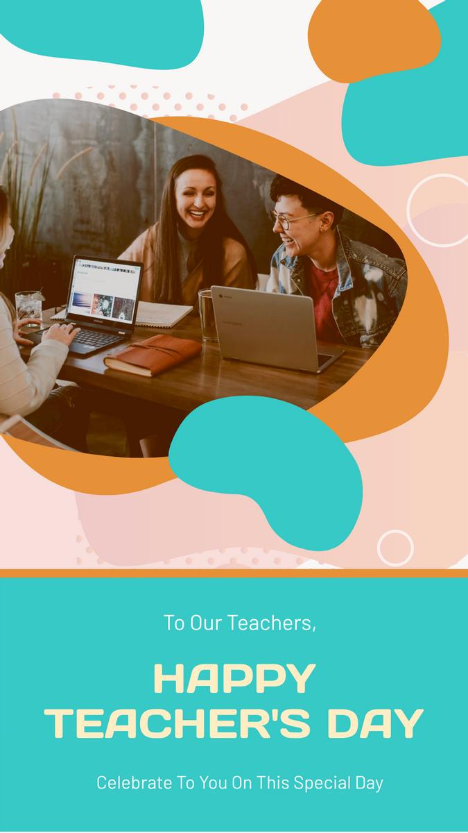 Instagram Story template: Orange And Blue Photo Teacher's Day Instagram Story (Created by InfoART's Instagram Story maker)