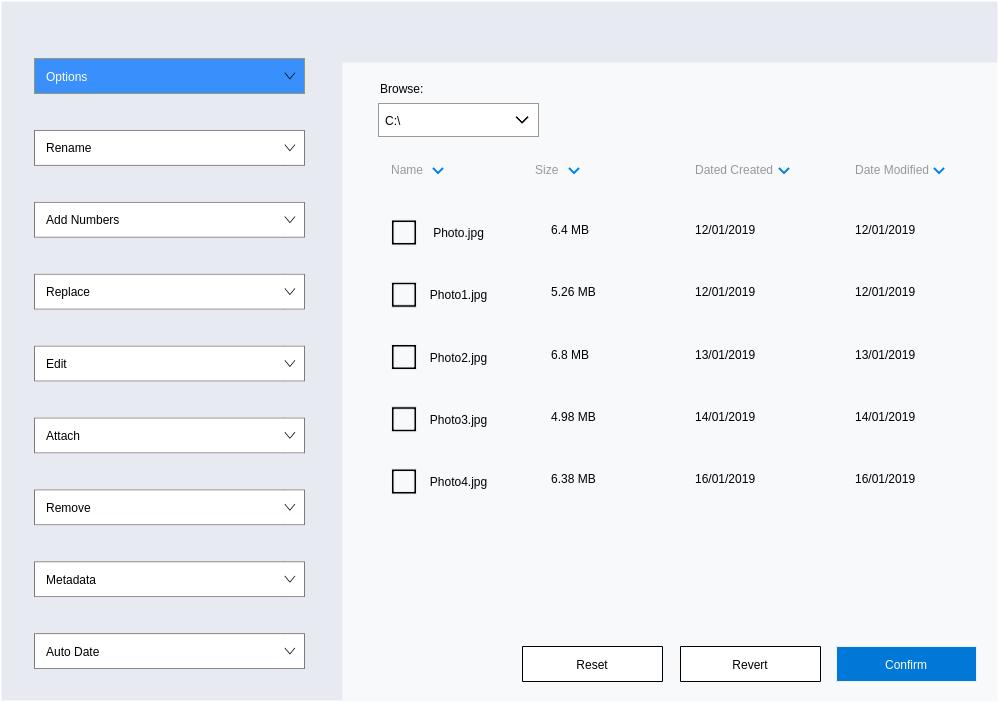 Photo Renaming Fluent UI (Fluent Design Wireframe Example)