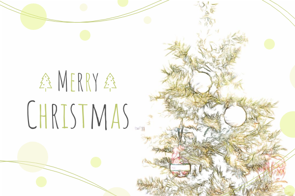 Greeting Card template: Christmas Tree Illustration Christmas Card (Created by InfoART's Greeting Card maker)