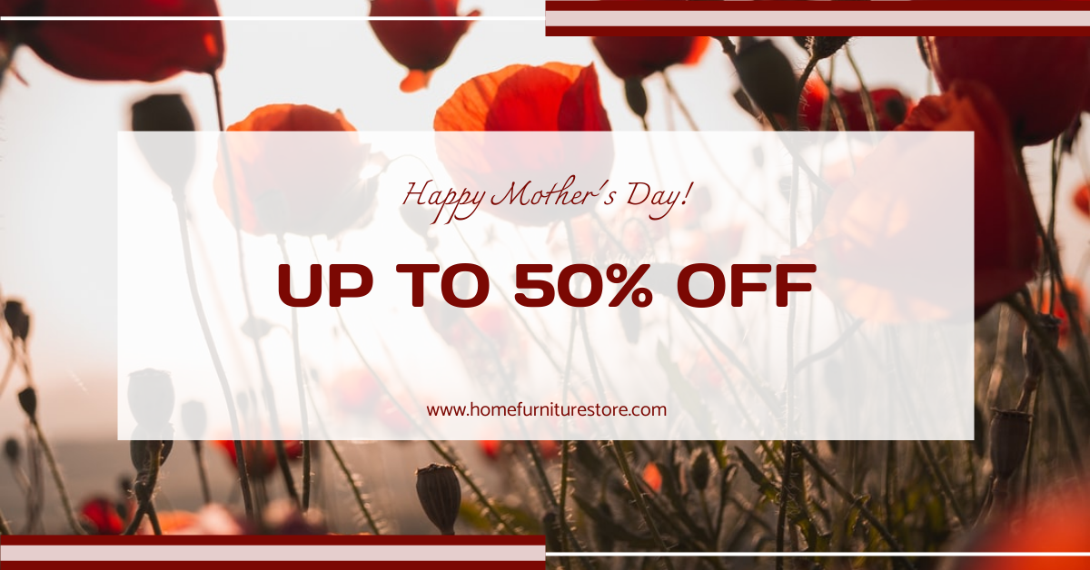 Facebook Ad template: Red Floral Background Mother's Day Sale Facebook Ad (Created by InfoART's Facebook Ad maker)