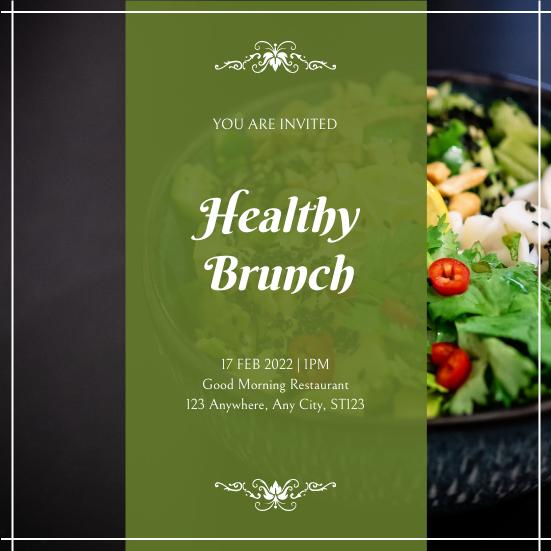 Invitation template: Green Rectangle Healthy Brunch Invitation (Created by InfoART's Invitation maker)