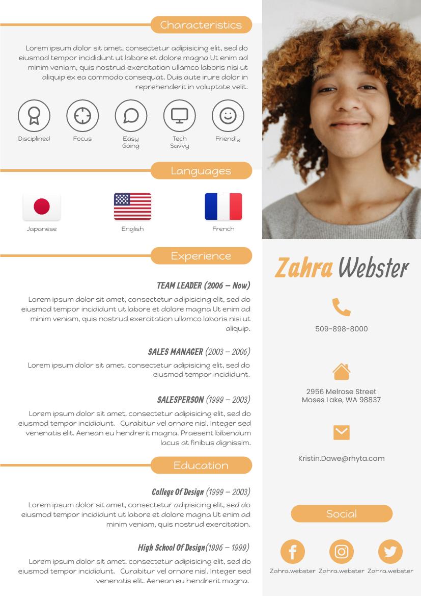 Resume template: Fun Resume (Created by InfoART's Resume maker)