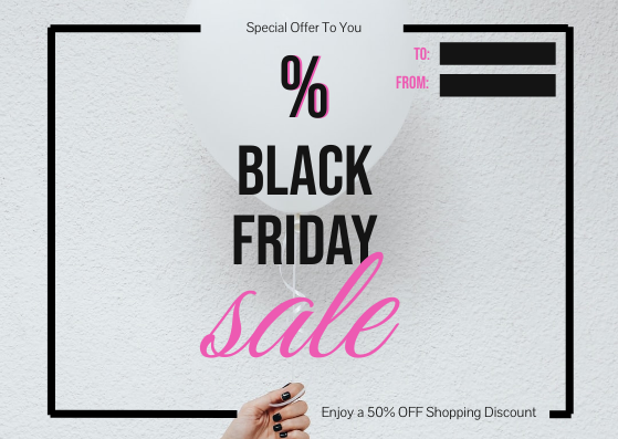 Gift Card template: Pink and White Balloon Black Friday Special Offer Gift Card (Created by InfoART's Gift Card maker)
