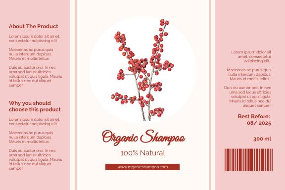 Label template: Elegant Shampoo Label (Created by InfoART's Label maker)