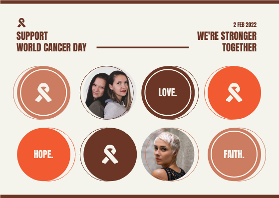 Postcard template: Brown Orange Circles World Cancer Day Postcard (Created by InfoART's Postcard maker)