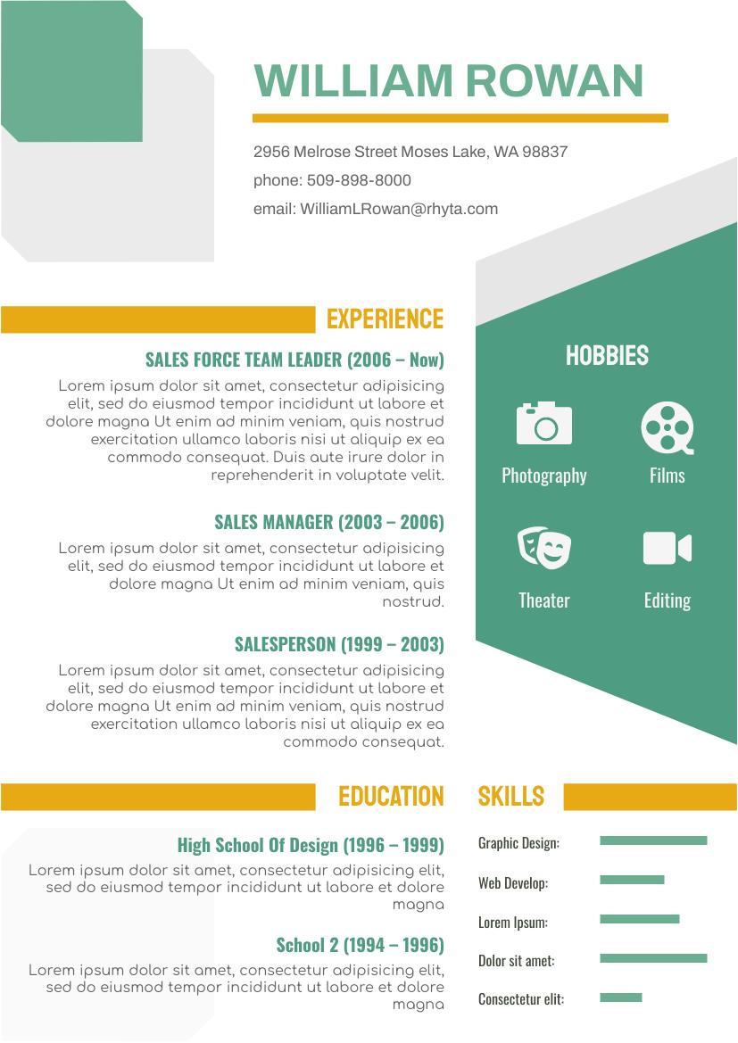 Resume template: Orange Green Resume (Created by InfoART's Resume maker)