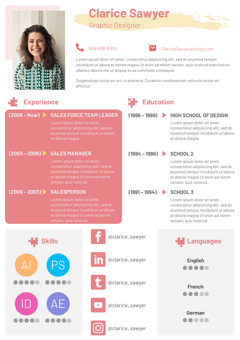 Resume template: Creative Resume 2 (Created by InfoART's Resume maker)