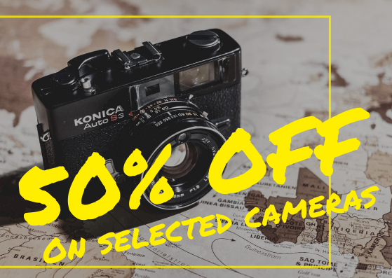 Gift Card template: 50% Off Camera Gift Card (Created by InfoART's Gift Card maker)
