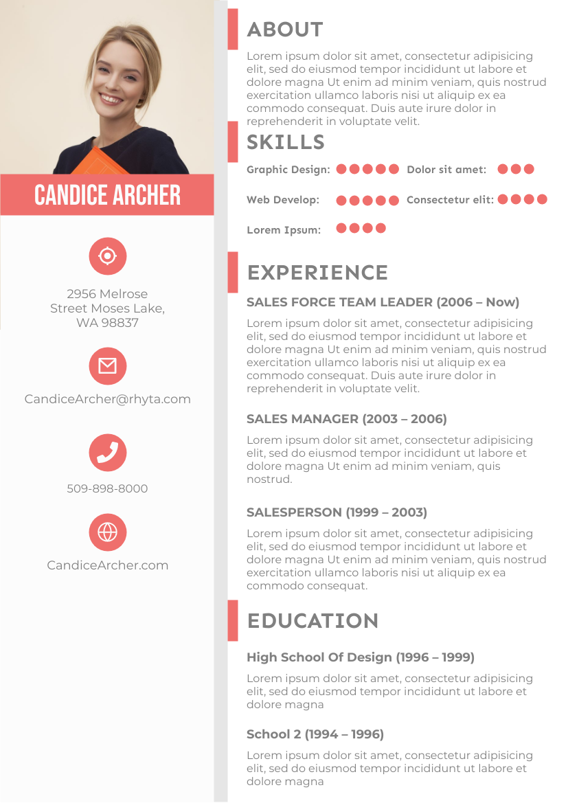 Resume template: Pink Resume 3 (Created by InfoART's Resume maker)