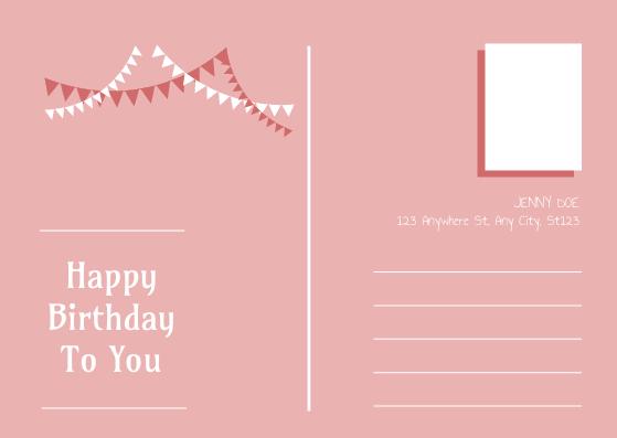 Postcard template: Pink Baby Girl Birthday Postcard (Created by InfoART's Postcard maker)