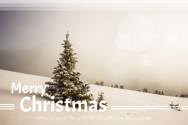 Greeting Card template: White Christmas Greeting Card With View Of Snow (Created by InfoART's Greeting Card maker)