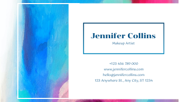 Business Card template: Blue And Pink Painting Texture Photo Business Card (Created by InfoART's Business Card maker)