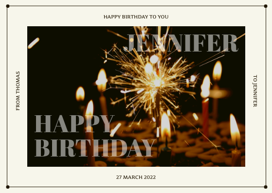 Postcard template: Brown Fireworks Birthday Postcard (Created by InfoART's Postcard maker)