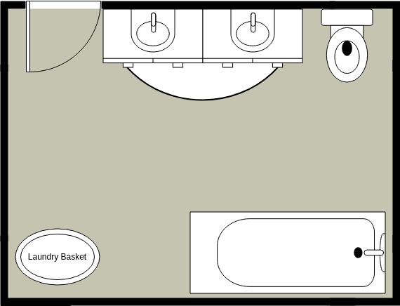 Bathroom Floor Plan template: Simple Bathroom Layout (Created by Diagrams's Bathroom Floor Plan maker)