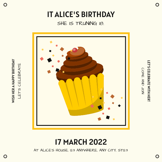 Invitation template: Yellow And Black Cute Cake Birthday Party Invitation (Created by InfoART's Invitation maker)