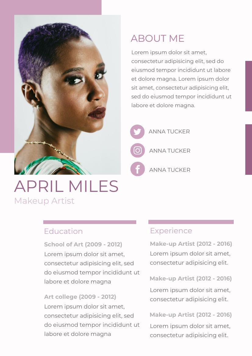 Resume template: Purple Resume 2 (Created by InfoART's Resume maker)