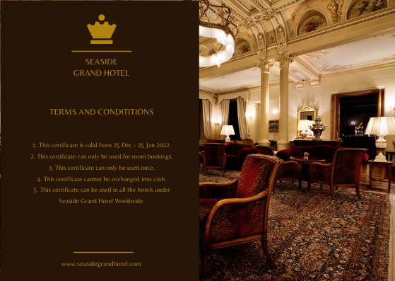 Gift Card template: Gold Brown Hotel Booking Gift Card (Created by InfoART's Gift Card maker)