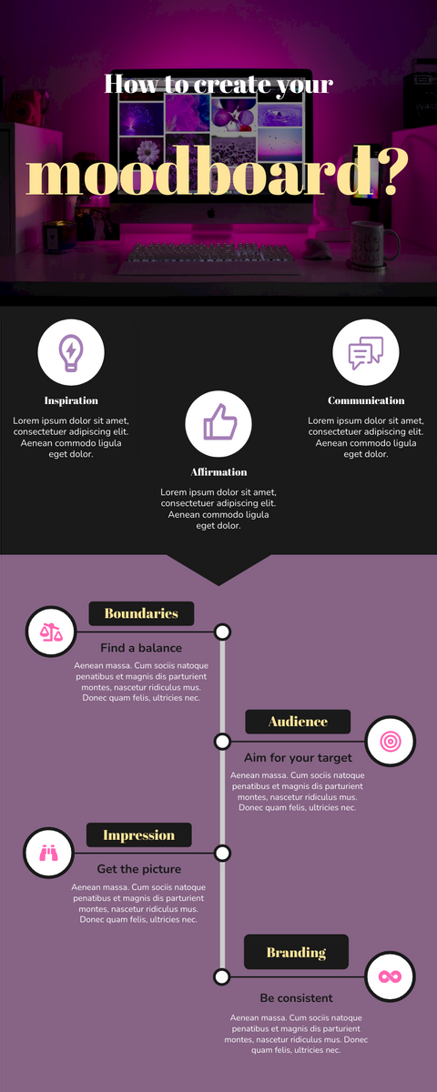 Infographic template: How To Create A Moodboard  Infographic (Created by InfoART's Infographic maker)