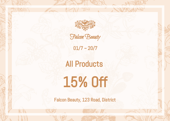 Gift Card template: Beauty Products Gift Card (Created by InfoART's Gift Card marker)