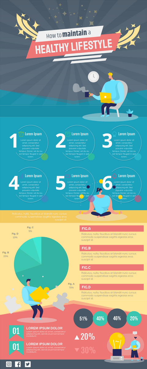 Infographic template: How to Maintain a Healthy Lifestyle (Created by InfoART's Infographic maker)